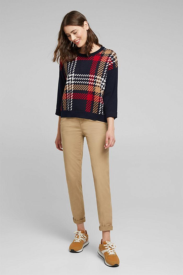 Jacquard jumper with cashmere, NAVY, detail image number 1