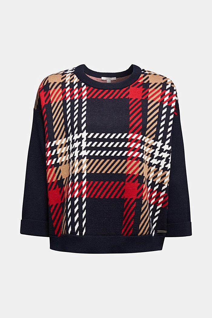 Jacquard jumper with cashmere, NAVY, detail image number 5