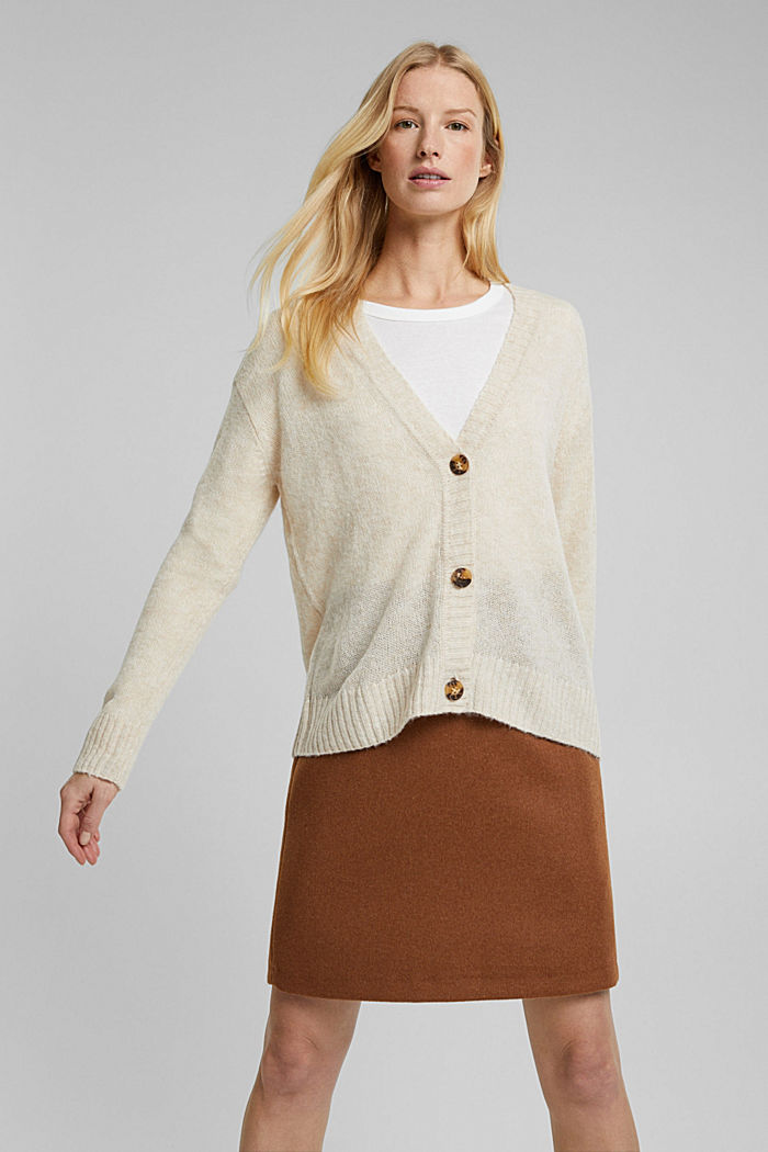 Wool blend containing alpaca: airy cardigan, SAND, detail image number 0