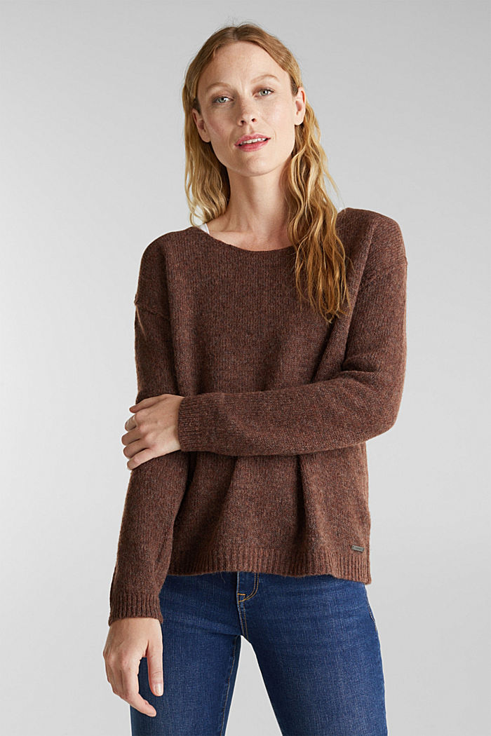 Jumper with a round neckline, with wool & alpaca, BROWN, detail image number 0