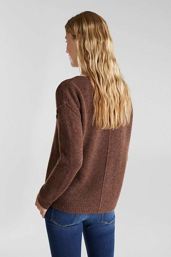 Jumper with a round neckline, with wool & alpaca, BROWN, detail image number 3
