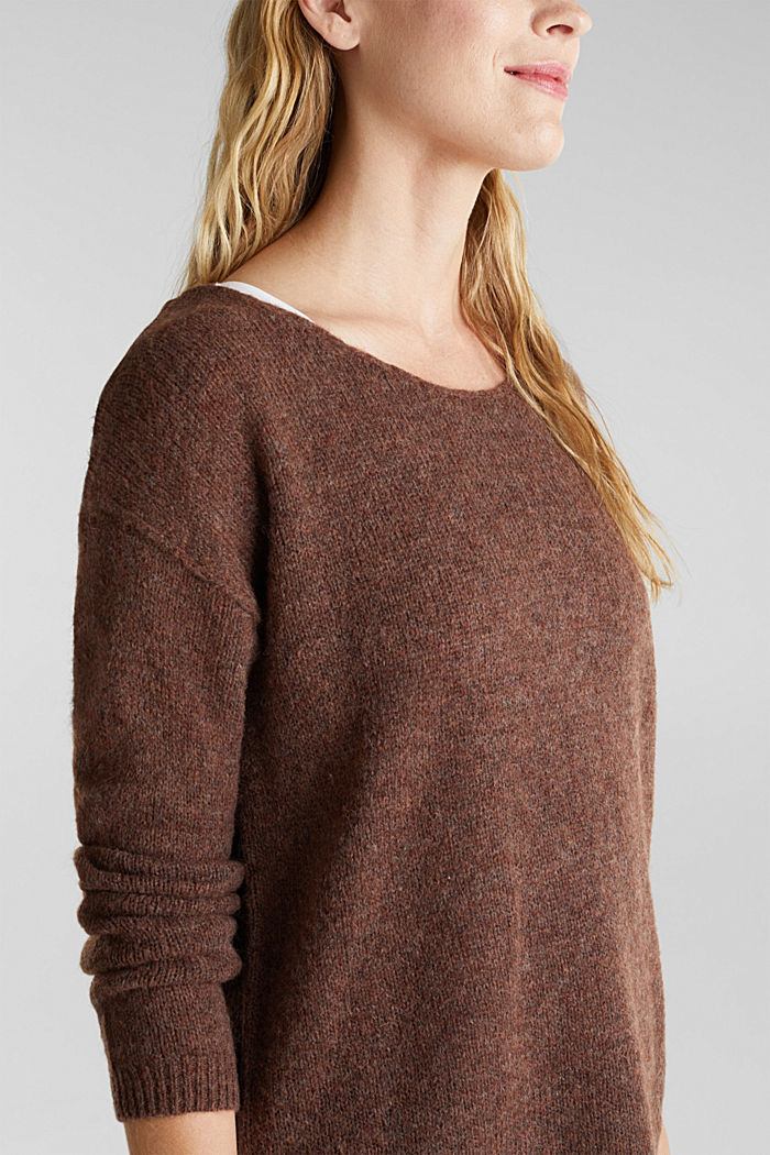 Jumper with a round neckline, with wool & alpaca, BROWN, detail image number 2
