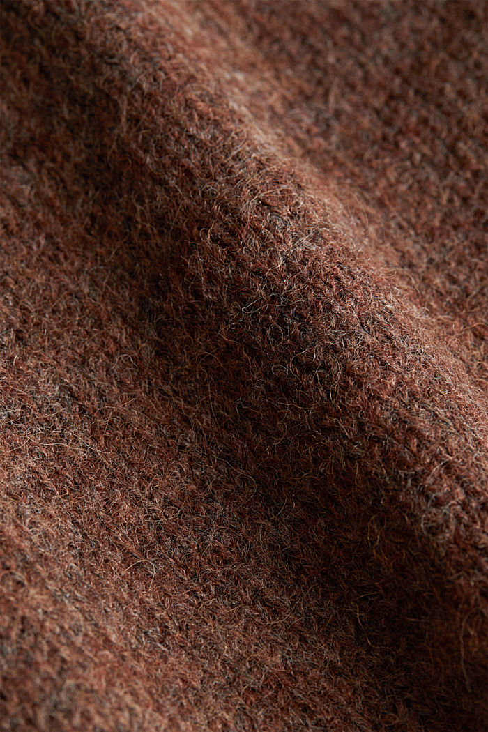 Jumper with a round neckline, with wool & alpaca, BROWN, detail image number 4