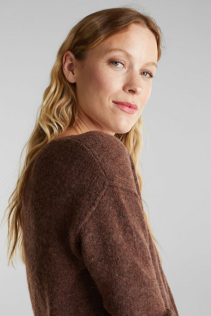 Jumper with a round neckline, with wool & alpaca, BROWN, detail image number 5