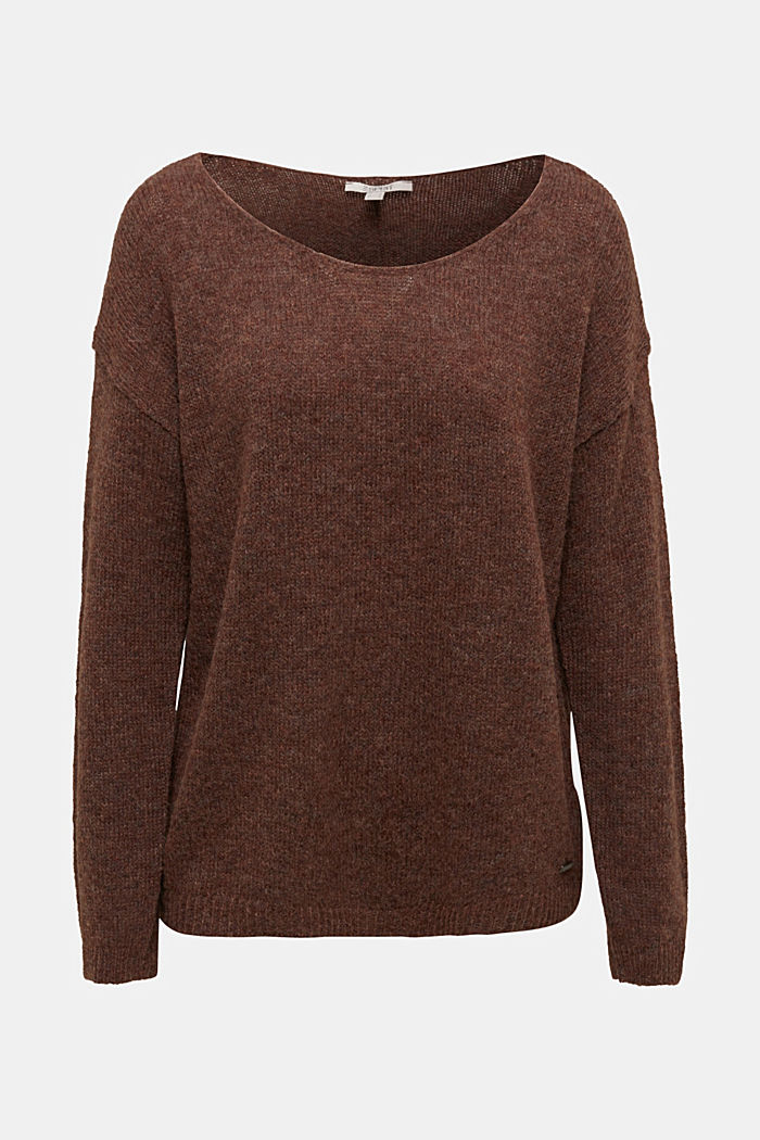 Jumper with a round neckline, with wool & alpaca, BROWN, detail image number 6