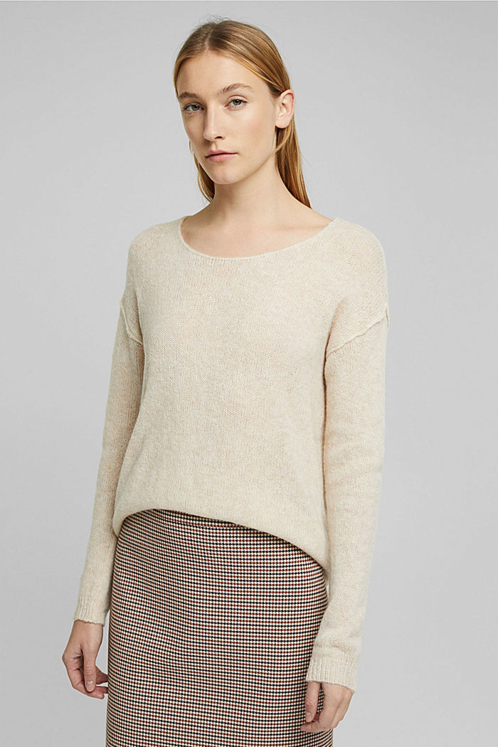 Jumper with a round neckline, with wool & alpaca, SAND, detail image number 4