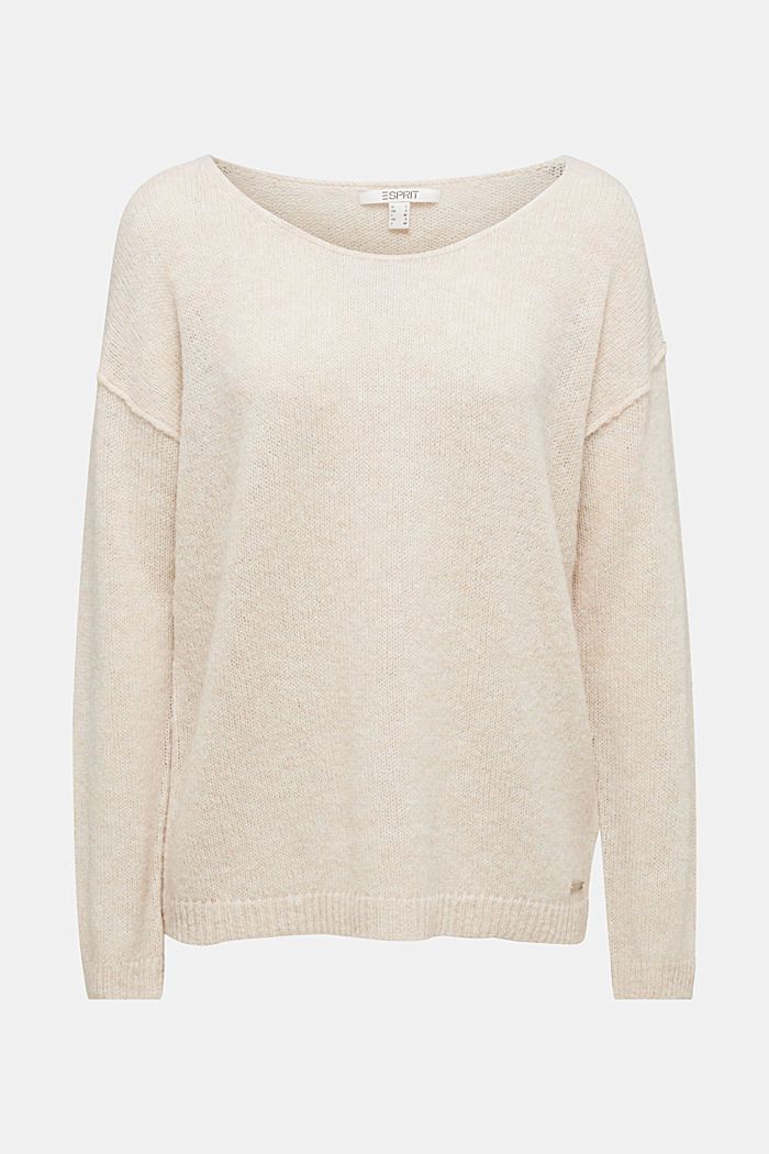 Jumper with a round neckline, with wool & alpaca, SAND, detail image number 7