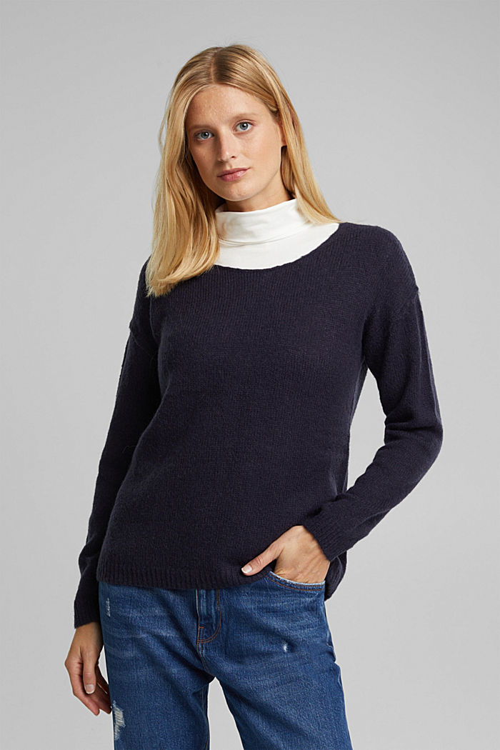Jumper with a round neckline, with wool & alpaca, NAVY, detail image number 0