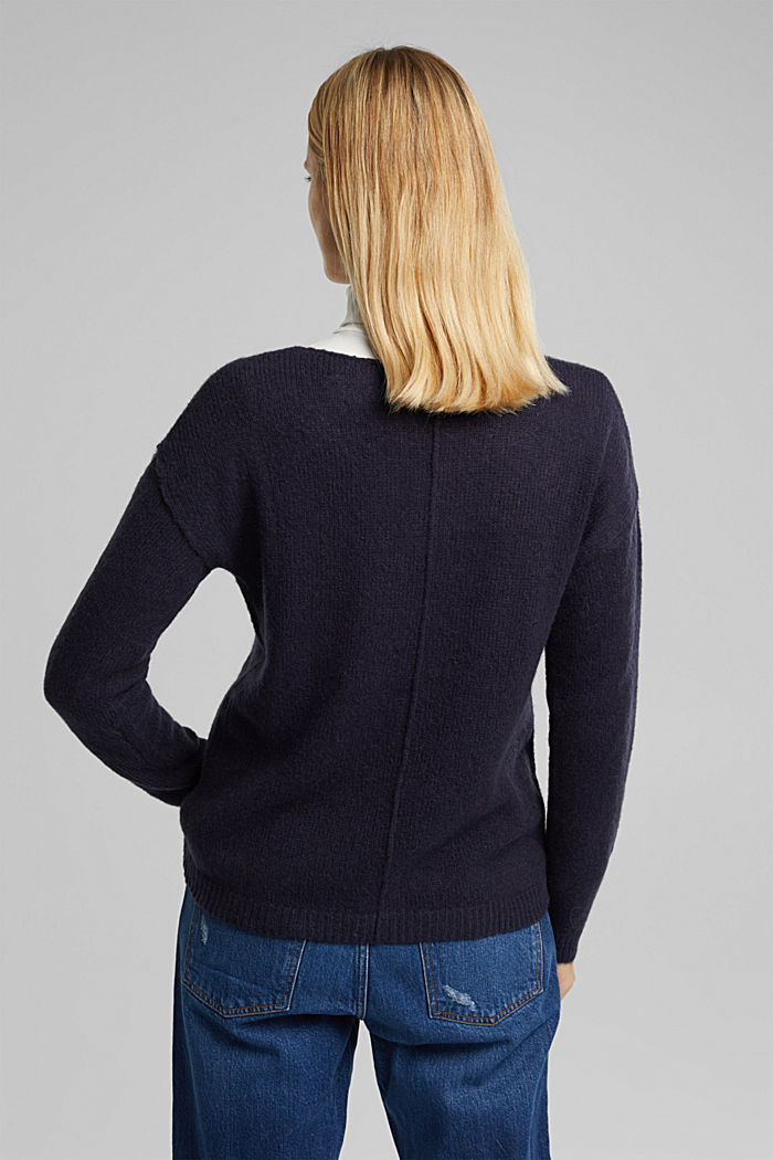 Jumper with a round neckline, with wool & alpaca, NAVY, detail image number 3