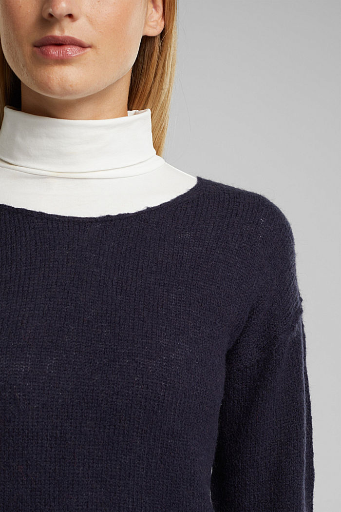 Jumper with a round neckline, with wool & alpaca, NAVY, detail image number 2