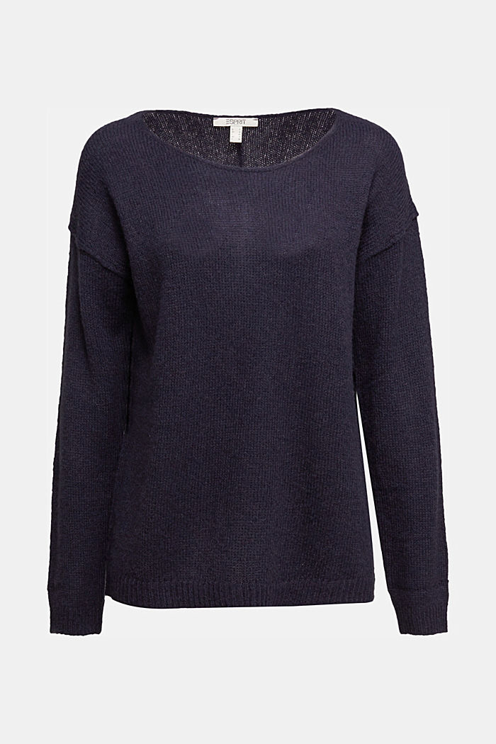 Jumper with a round neckline, with wool & alpaca, NAVY, detail image number 7