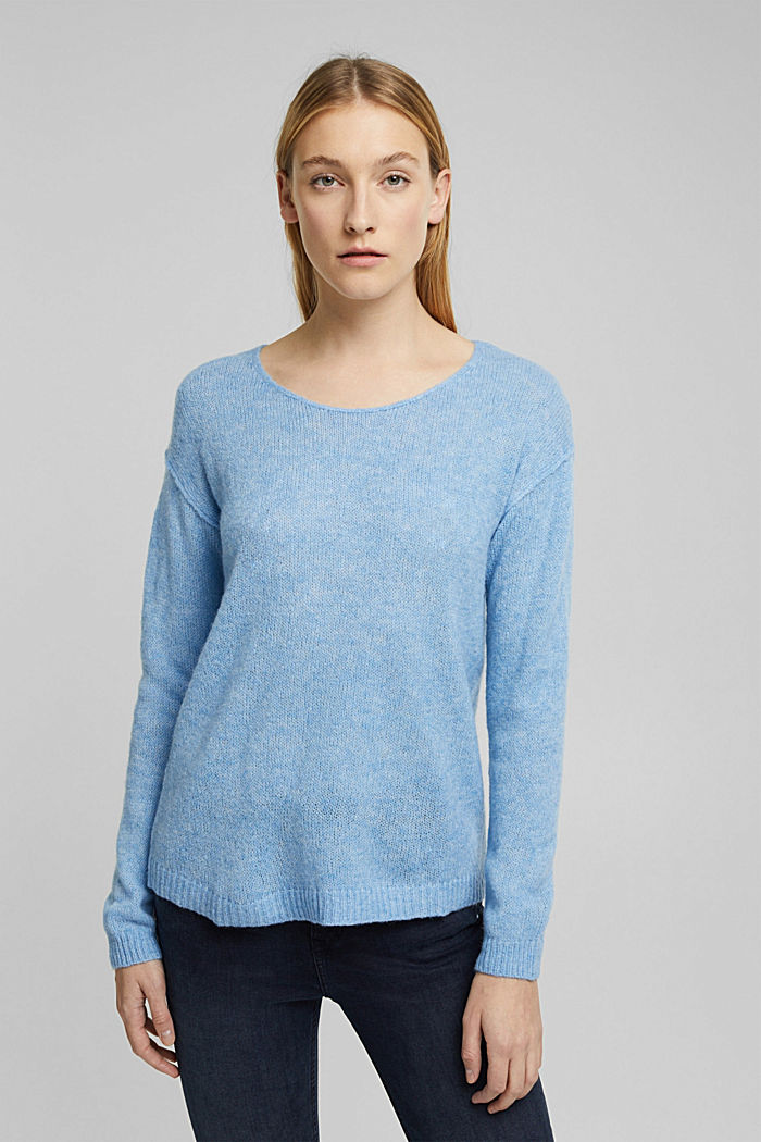 Jumper with a round neckline, with wool & alpaca, LIGHT BLUE, detail image number 0