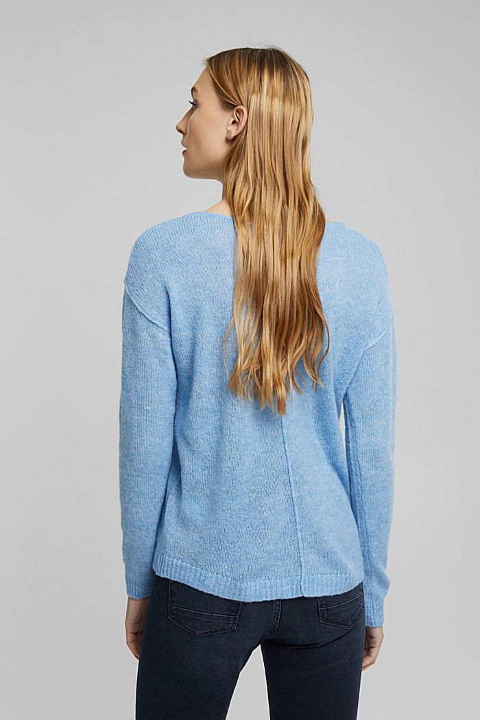 Jumper with a round neckline, with wool & alpaca, LIGHT BLUE, detail image number 3