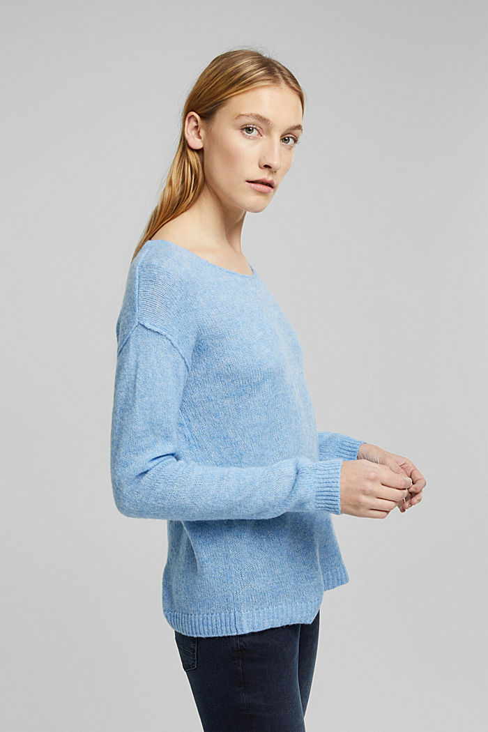 Jumper with a round neckline, with wool & alpaca, LIGHT BLUE, detail image number 4