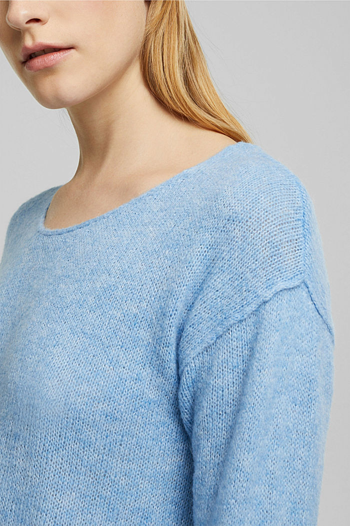 Jumper with a round neckline, with wool & alpaca, LIGHT BLUE, detail image number 2