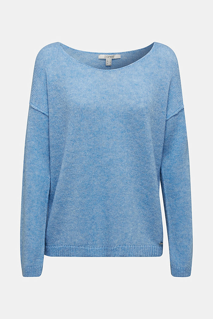 Jumper with a round neckline, with wool & alpaca, LIGHT BLUE, detail image number 6
