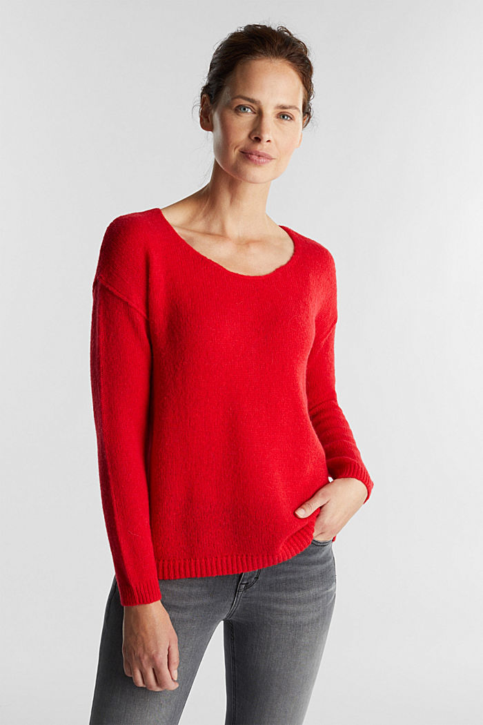 Jumper with a round neckline, with wool & alpaca, RED, detail image number 0