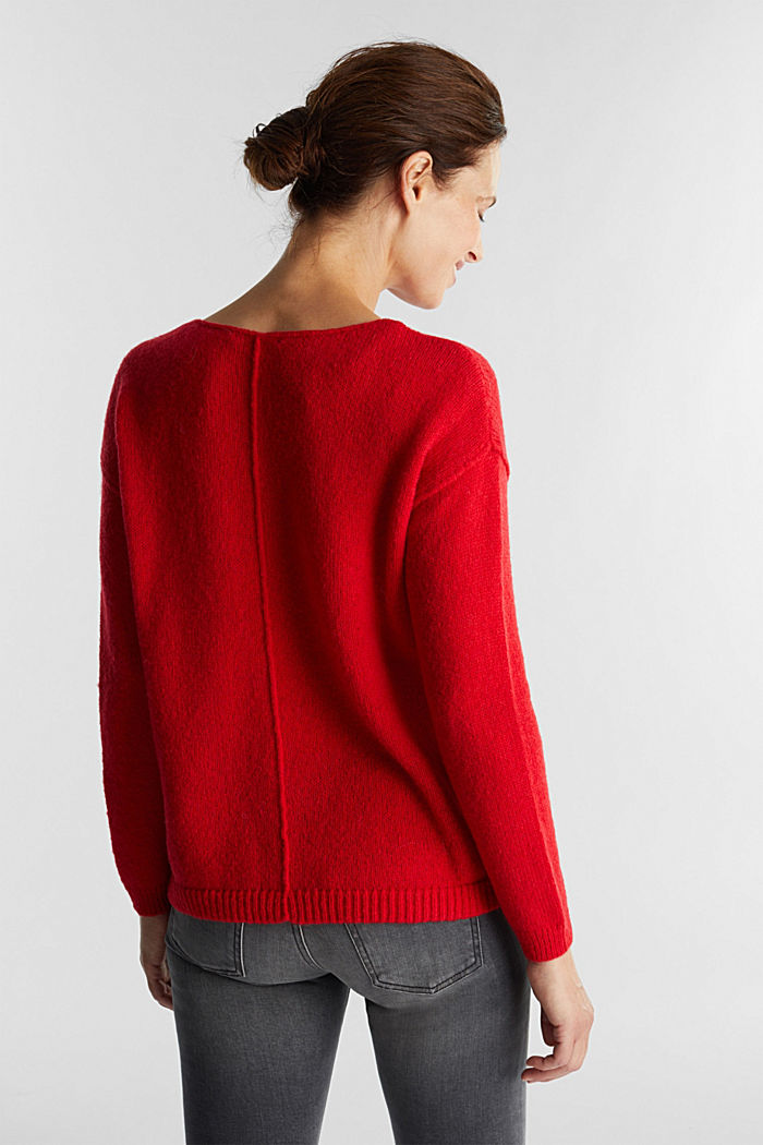 Jumper with a round neckline, with wool & alpaca, RED, detail image number 3
