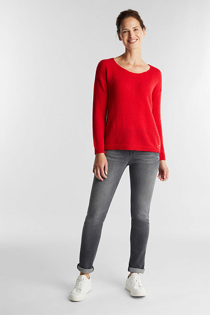 Jumper with a round neckline, with wool & alpaca, RED, detail image number 1