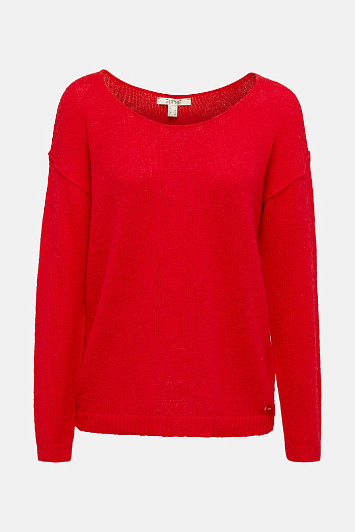 Jumper with a round neckline, with wool & alpaca, RED, detail image number 6