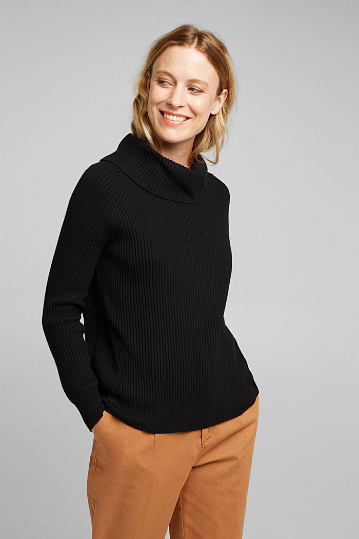 Ribbed jumper containing cashmere, BLACK, detail image number 0