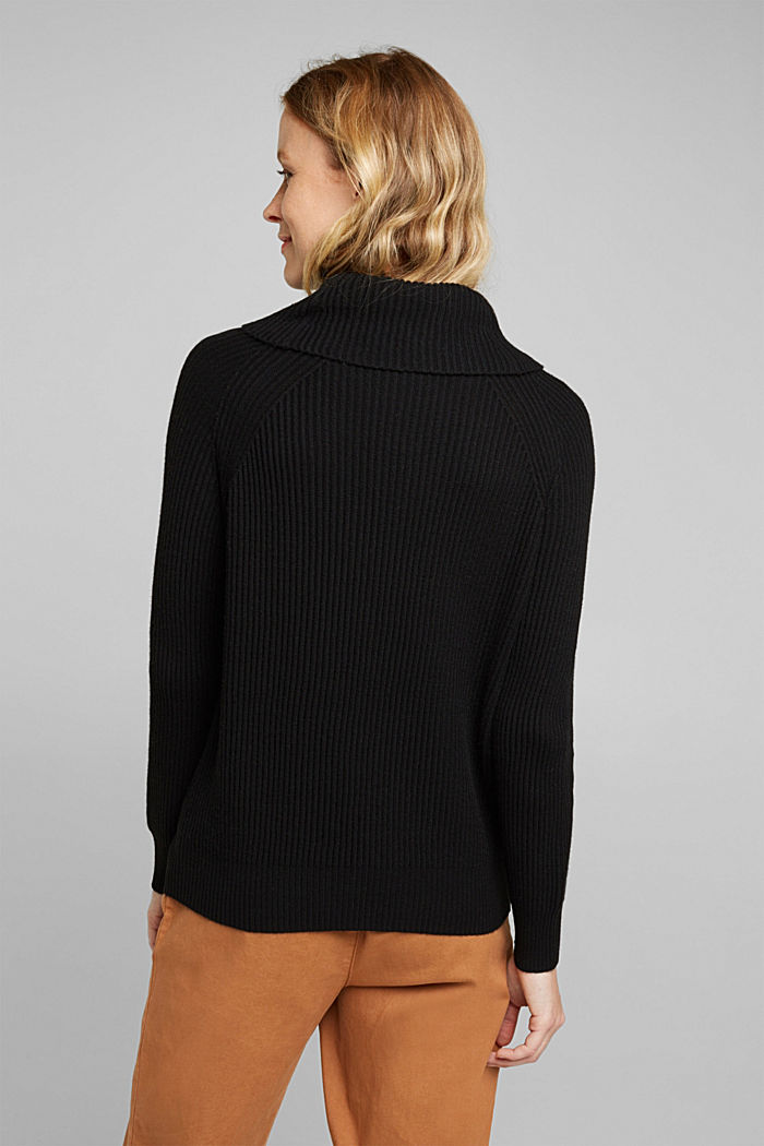 Ribbed jumper containing cashmere, BLACK, detail image number 3