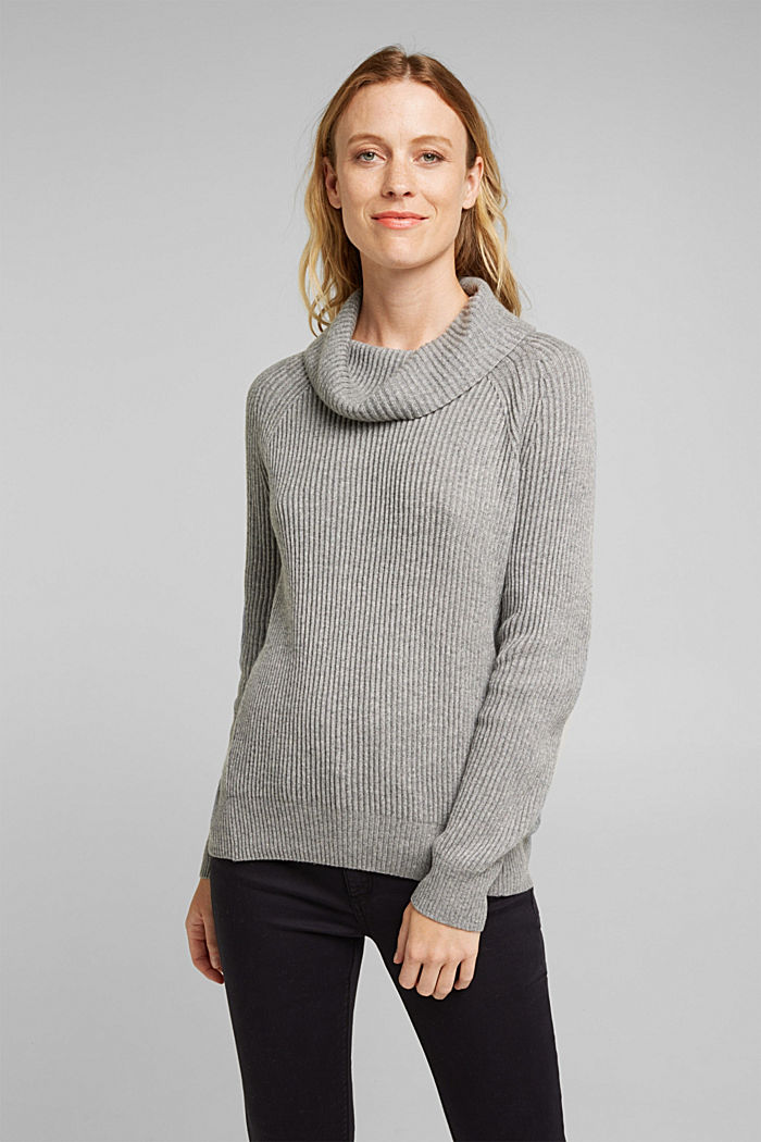 Ribbed jumper containing cashmere, GUNMETAL, detail image number 0