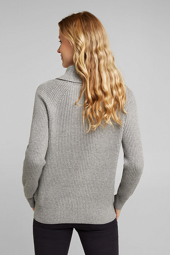 Ribbed jumper containing cashmere, GUNMETAL, detail image number 3
