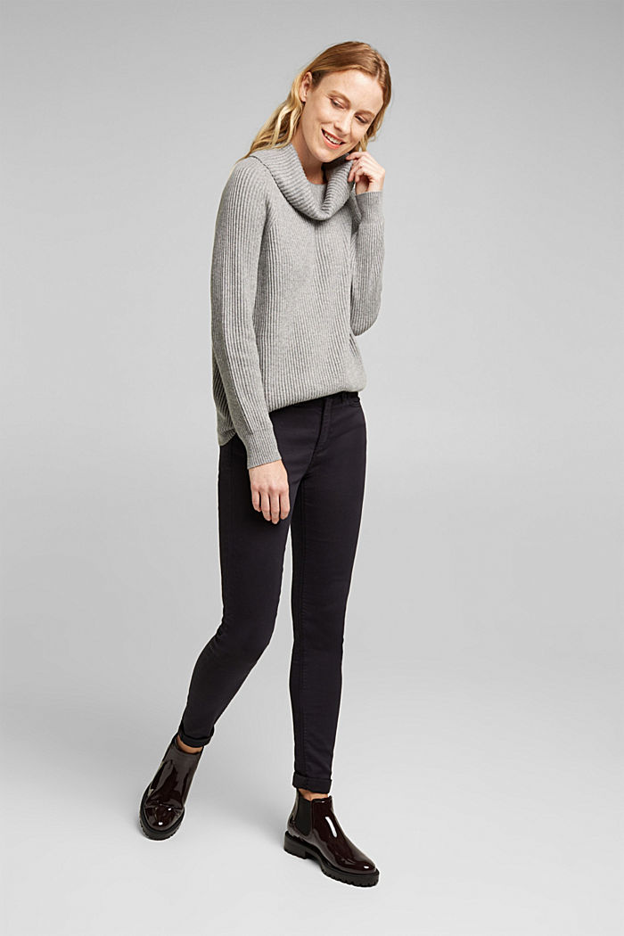 Ribbed jumper containing cashmere, GUNMETAL, detail image number 1