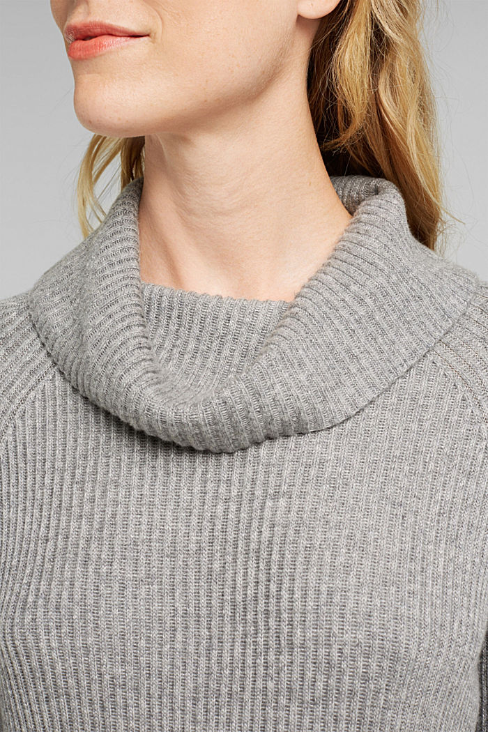Ribbed jumper containing cashmere, GUNMETAL, detail image number 2