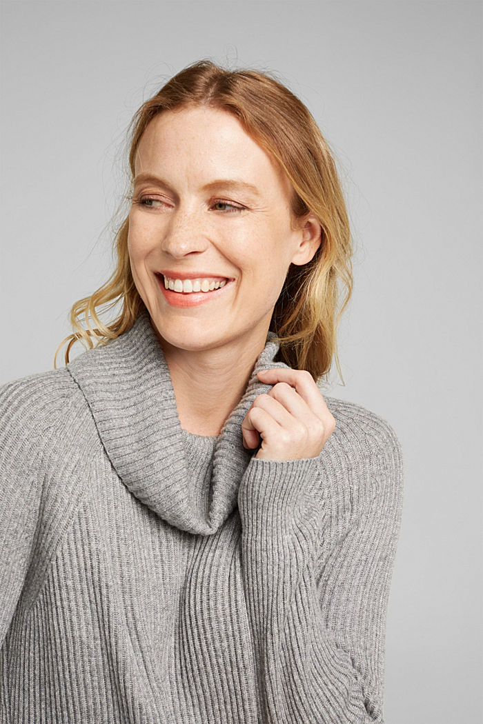 Ribbed jumper containing cashmere, GUNMETAL, detail image number 5