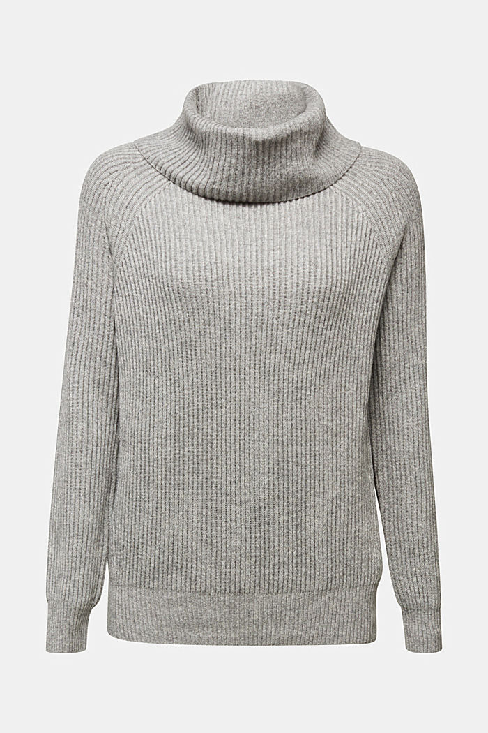 Ribbed jumper containing cashmere, GUNMETAL, detail image number 6