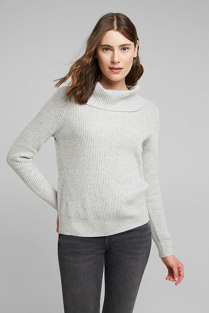 Ribbed jumper containing cashmere, LIGHT GREY, detail image number 0