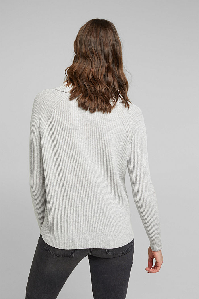 Ribbed jumper containing cashmere, LIGHT GREY, detail image number 3