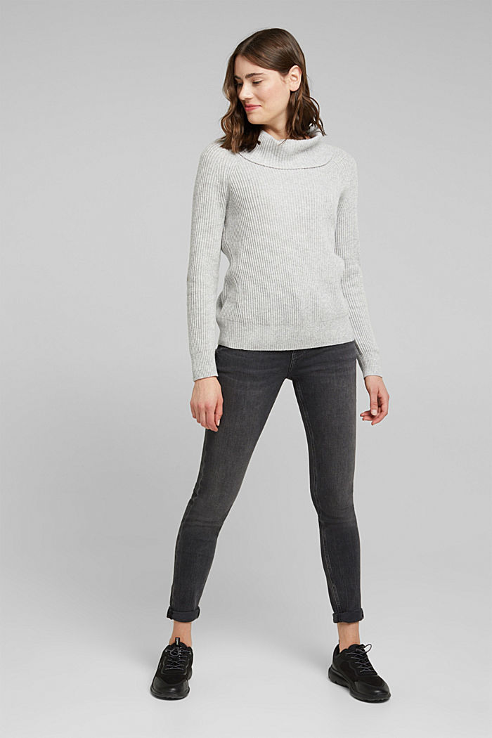 Ribbed jumper containing cashmere, LIGHT GREY, detail image number 1