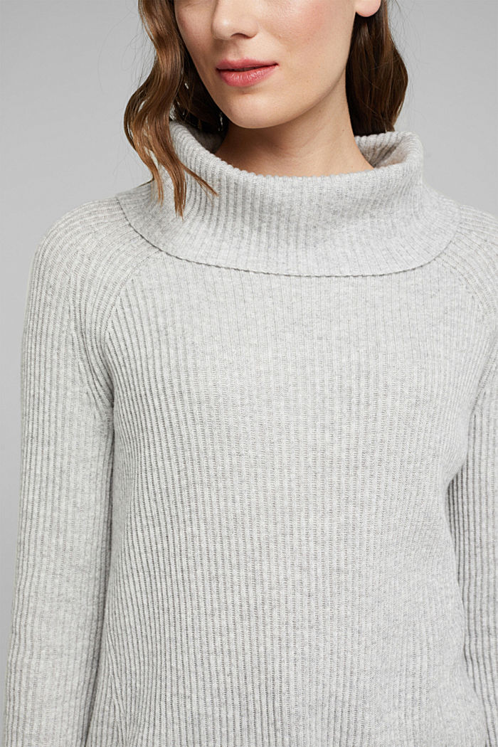 Ribbed jumper containing cashmere, LIGHT GREY, detail image number 2