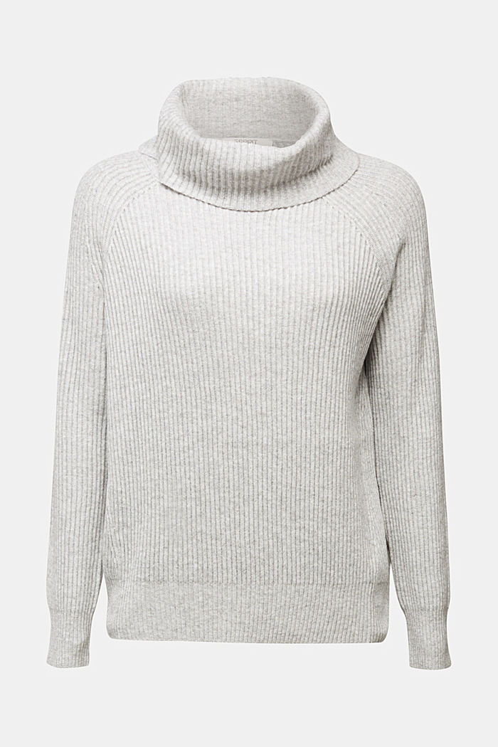 Ribbed jumper containing cashmere, LIGHT GREY, detail image number 5