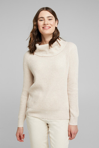 Ribbed jumper containing cashmere