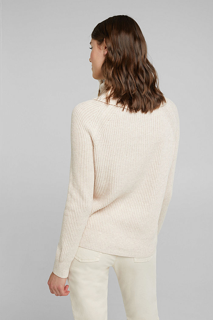 Ribbed jumper containing cashmere, SAND, detail image number 3