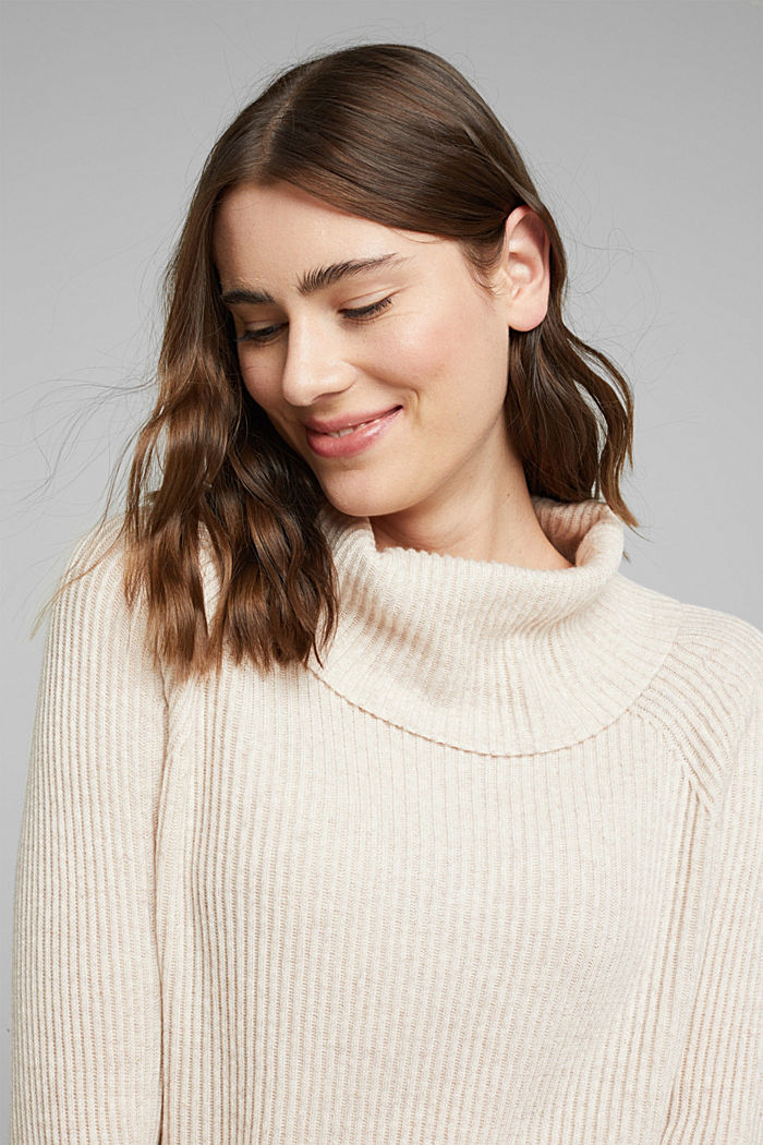 Ribbed jumper containing cashmere, SAND, detail image number 5
