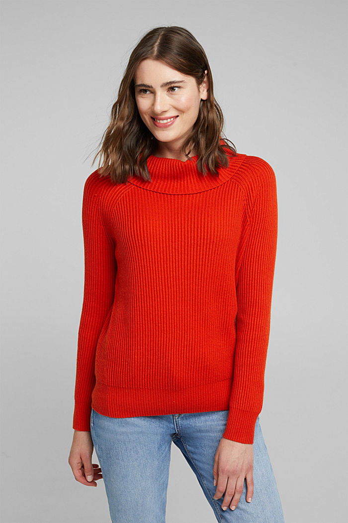 Ribbed jumper containing cashmere, RUST ORANGE, detail image number 0
