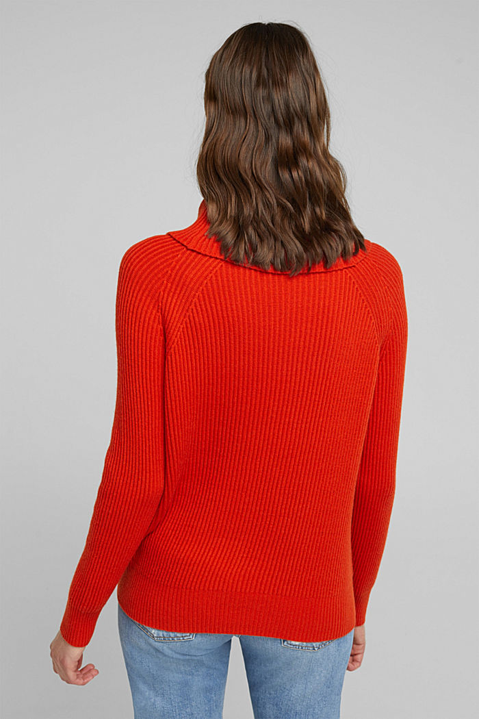 Ribbed jumper containing cashmere, RUST ORANGE, detail image number 3
