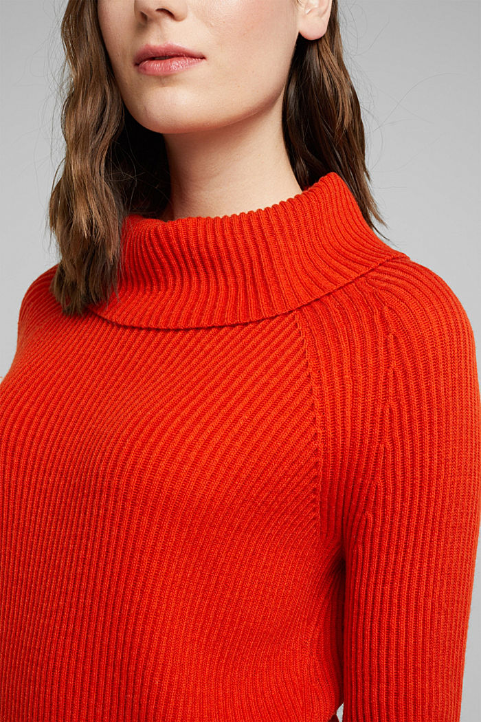 Ribbed jumper containing cashmere, RUST ORANGE, detail image number 2