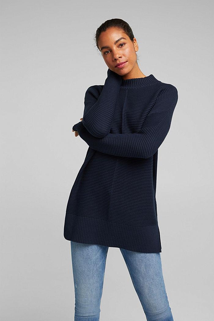 Mit Kaschmir: Organic Cotton Pullover, NAVY, detail image number 0