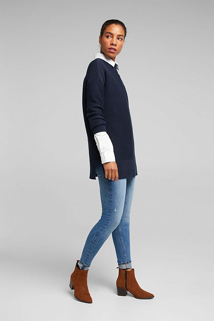 Mit Kaschmir: Organic Cotton Pullover, NAVY, detail image number 1