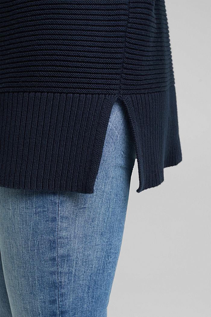 Mit Kaschmir: Organic Cotton Pullover, NAVY, detail image number 2