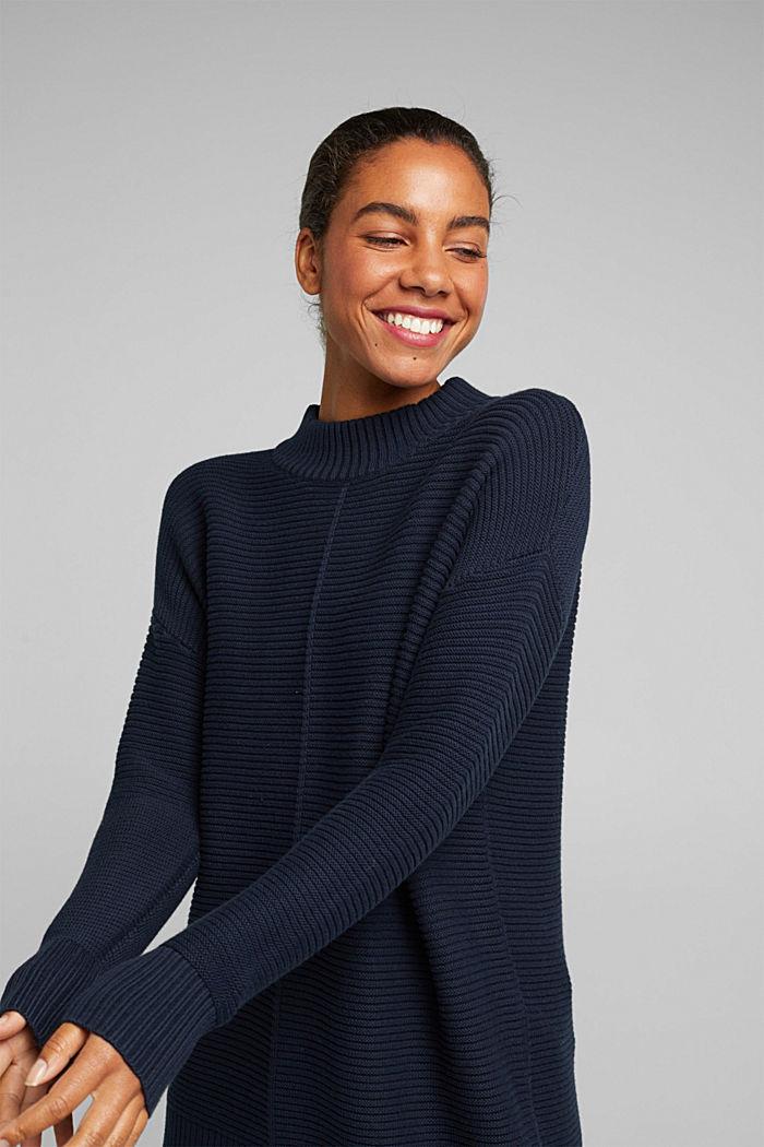 Mit Kaschmir: Organic Cotton Pullover, NAVY, detail image number 5