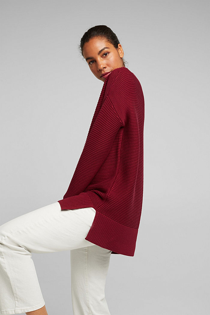 With cashmere: organic cotton jumper, BORDEAUX RED, detail image number 3