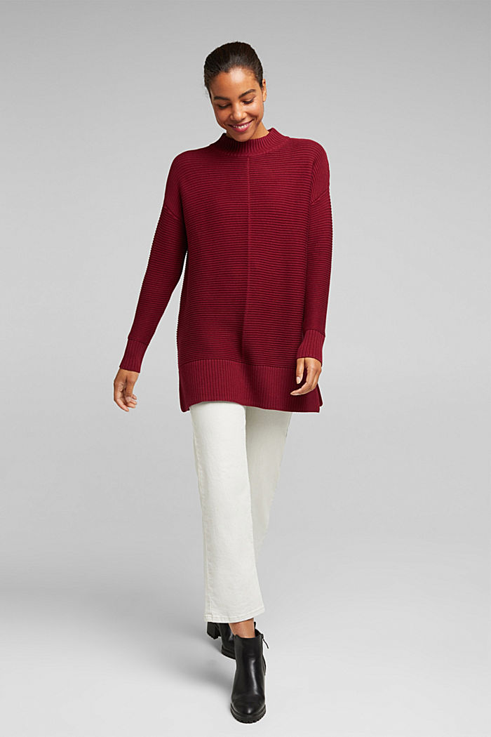 With cashmere: organic cotton jumper, BORDEAUX RED, detail image number 1