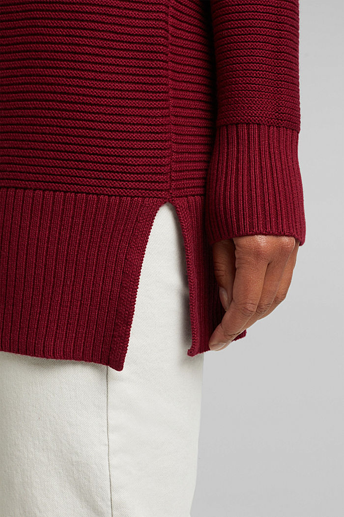 With cashmere: organic cotton jumper, BORDEAUX RED, detail image number 2